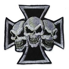 TRIPLE SKULL MOTIF IRON ON EMBROIDERED PATCH APPLIQUE